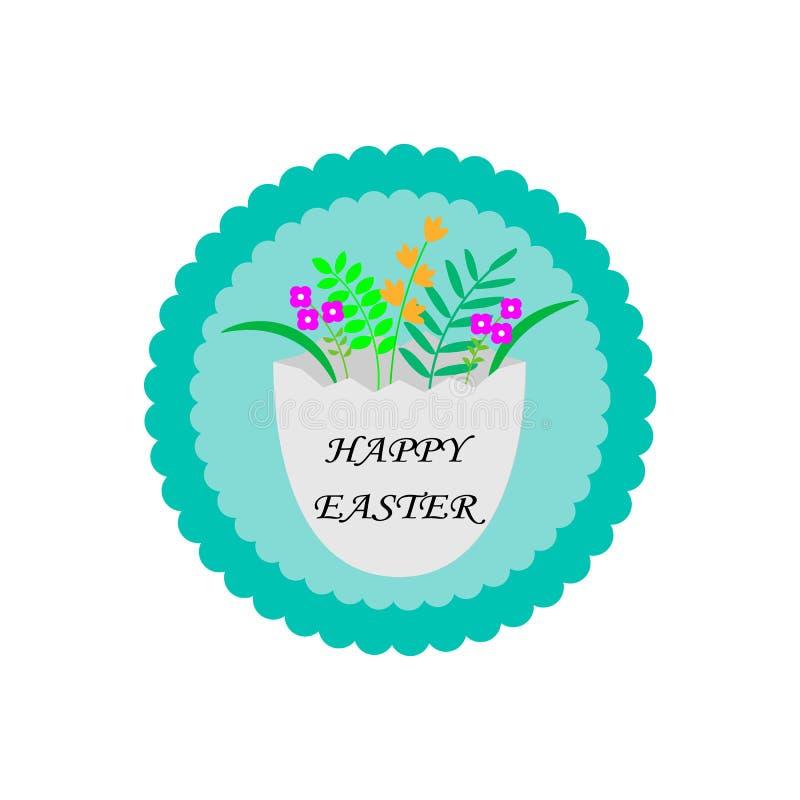 传染媒介复活节党飞行物、卡片例证与花,叶子和鸡蛋与congradulation在自然蓝色背景 皇族释放例证