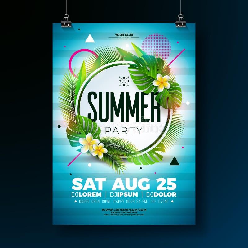 传染媒介夏天党与热带叶子和花的飞行物设计在蓝色背景 夏天自然花卉元素 向量例证