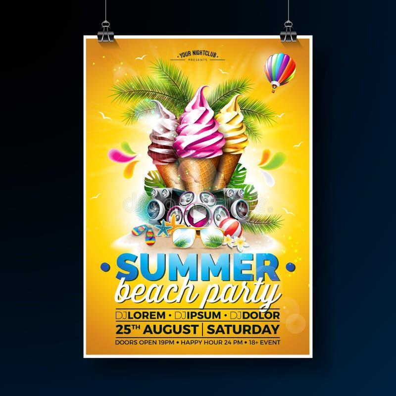 传染媒介夏天海滩党与冰淇凌和报告人的飞行物设计在发光的背景 热带植物,花 皇族释放例证