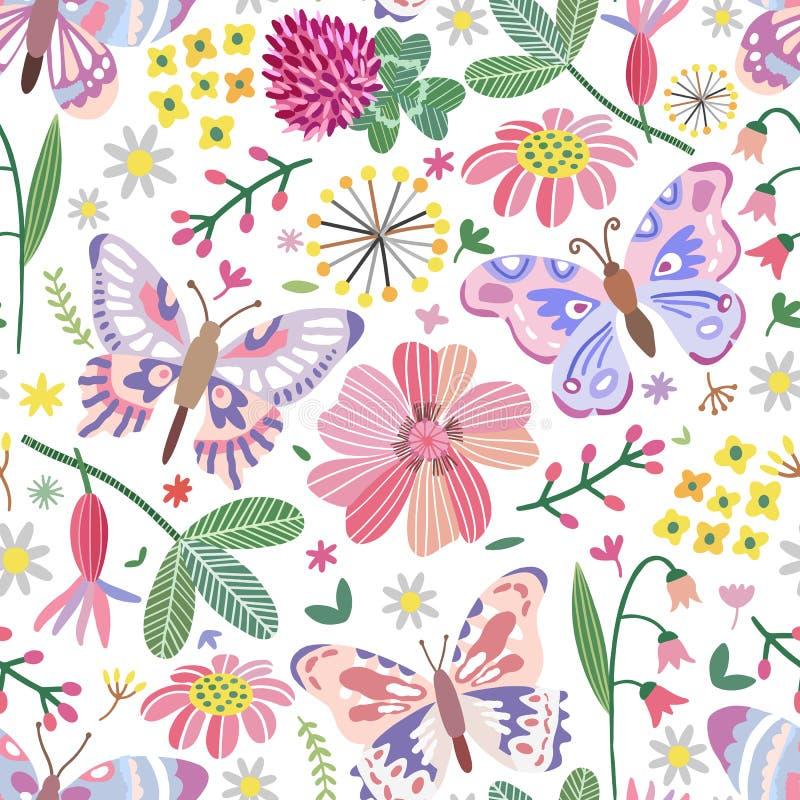传染媒介夏天草甸无缝的样式 花,蝴蝶 库存例证