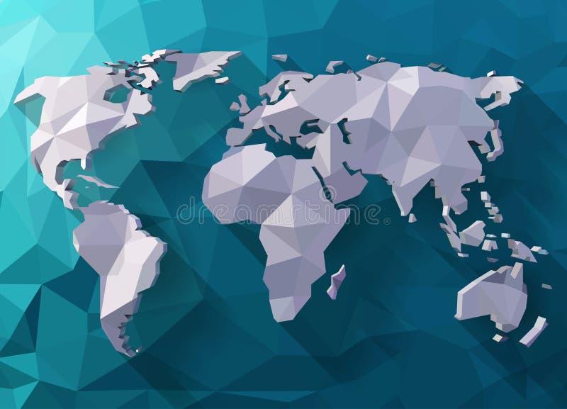 传染媒介多角形世界地图 库存例证