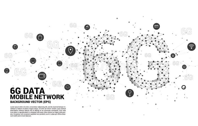 传染媒介多角形小点连接线塑造了6G与作用象的流动网络 手机数据技术的概念 库存例证