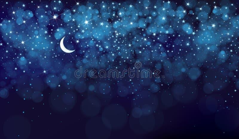 传染媒介夜满天星斗的天空 向量例证
