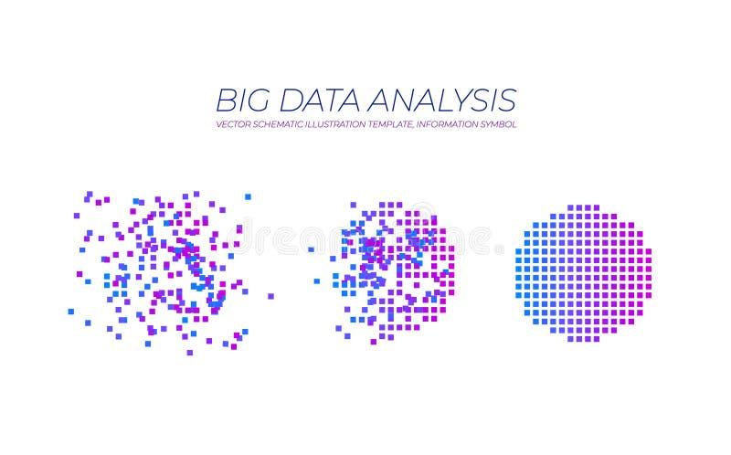 传染媒介大数据例证,被隔绝的技术元素,数据分析概念 向量例证