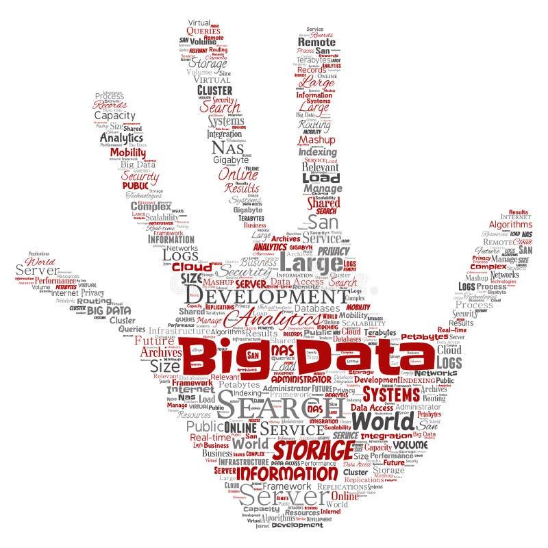 传染媒介大数据大号存贮系统手印刷品 向量例证