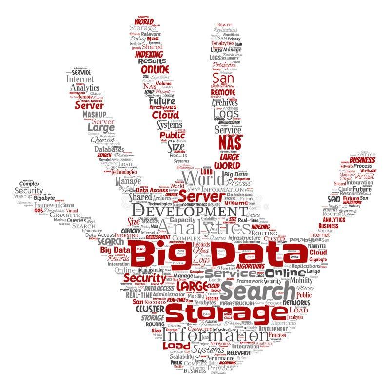传染媒介大数据大号存贮系统手 向量例证