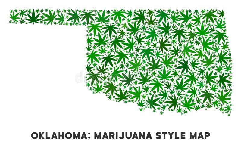 传染媒介大麻拼贴画俄克拉何马状态地图 向量例证