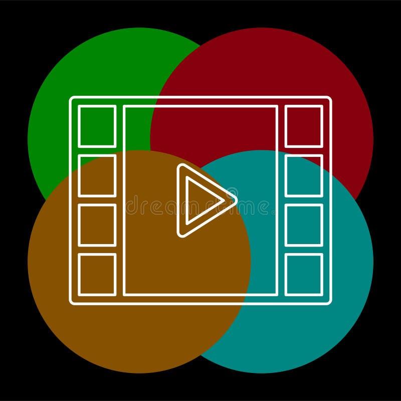 传染媒介夹子戏剧按钮象-电影媒介标志 库存例证