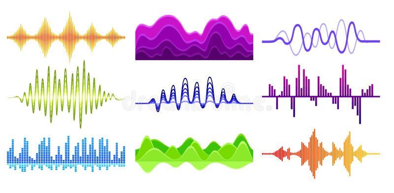 传染媒介套不同的音乐波浪 合理的脉冲 数字信号波形 音频调平器 音乐技术 库存例证