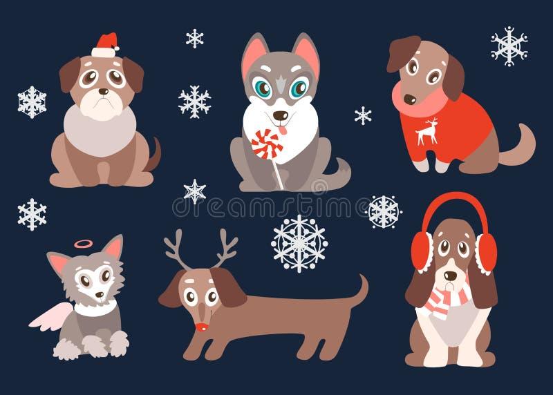传染媒介套与圣诞节标志的小狗 逗人喜爱的狗,最佳的fr 皇族释放例证