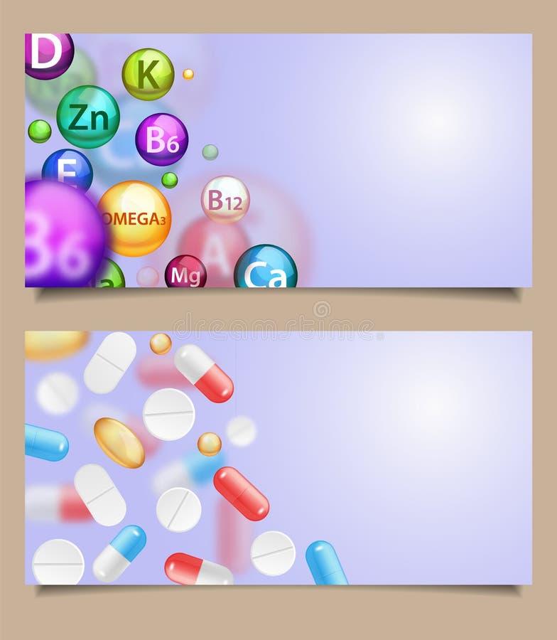传染媒介套与落的药片的医疗横幅 库存例证