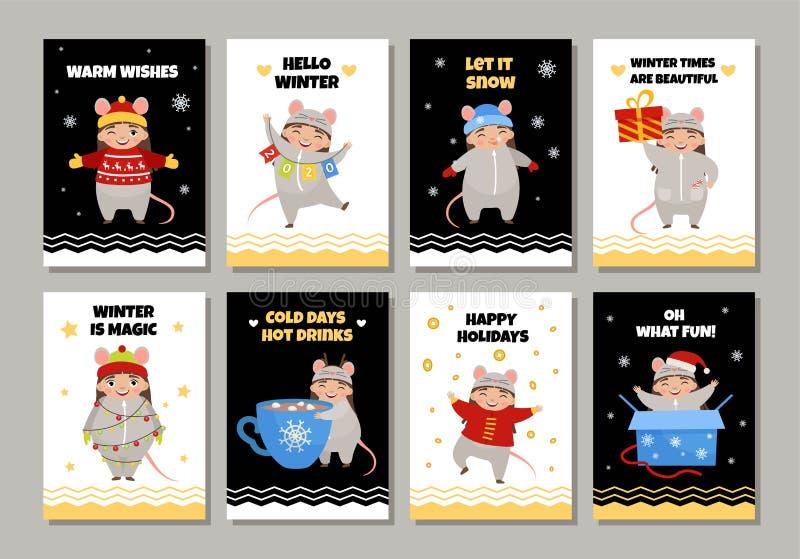 传染媒介套与逗人喜爱的动画片女孩的卡片i 向量例证