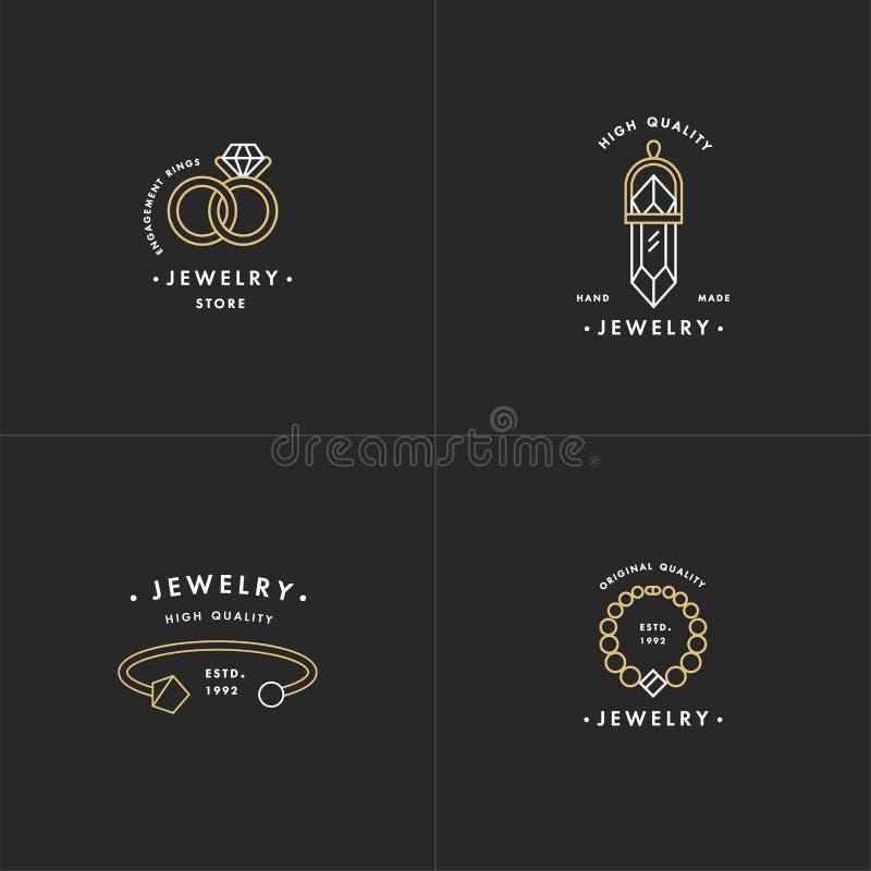 传染媒介套与项链和宝石的商标,婚戒和镯子在五颜六色的时髦线性样式设计 向量例证