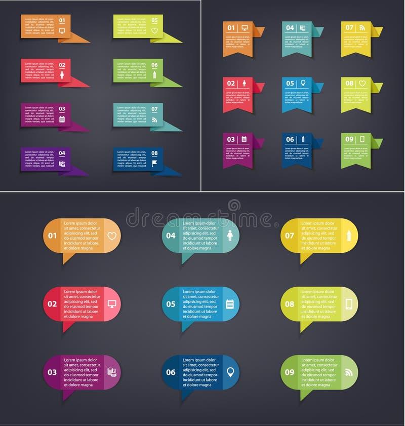 传染媒介套事务标记,五颜六色的泡影 图的,图表,介绍模板 库存例证