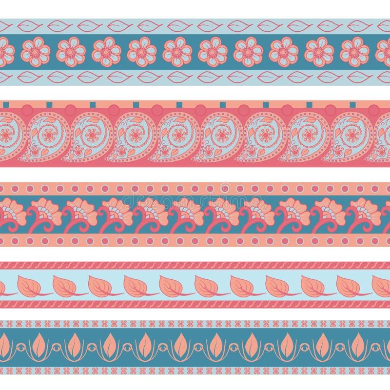传染媒介套五颜六色的无缝的边界 种族印度kalamkari装饰品 在东方样式的装饰民间设计 库存例证