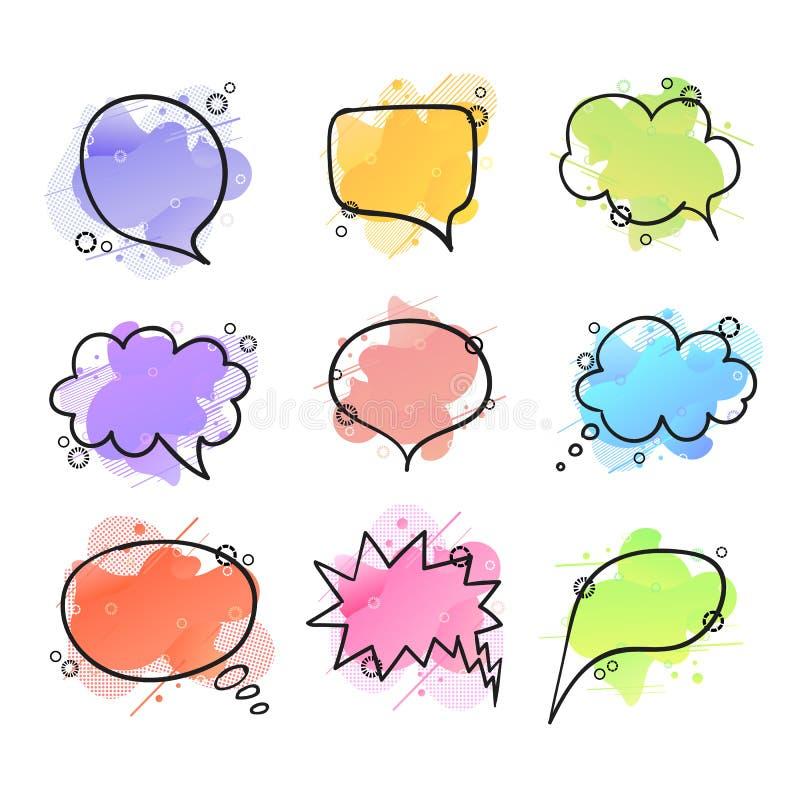 传染媒介套五颜六色的讲话泡影和想法云彩在抽象液体形状背景,几何设计元素 皇族释放例证