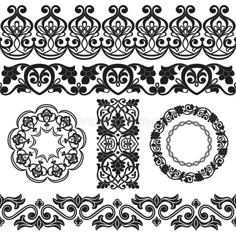 传染媒介套亚洲无缝的磁带、丝带,在周围和唯一样式以棉花的形式在乌兹别克人国民样式开花 库存例证