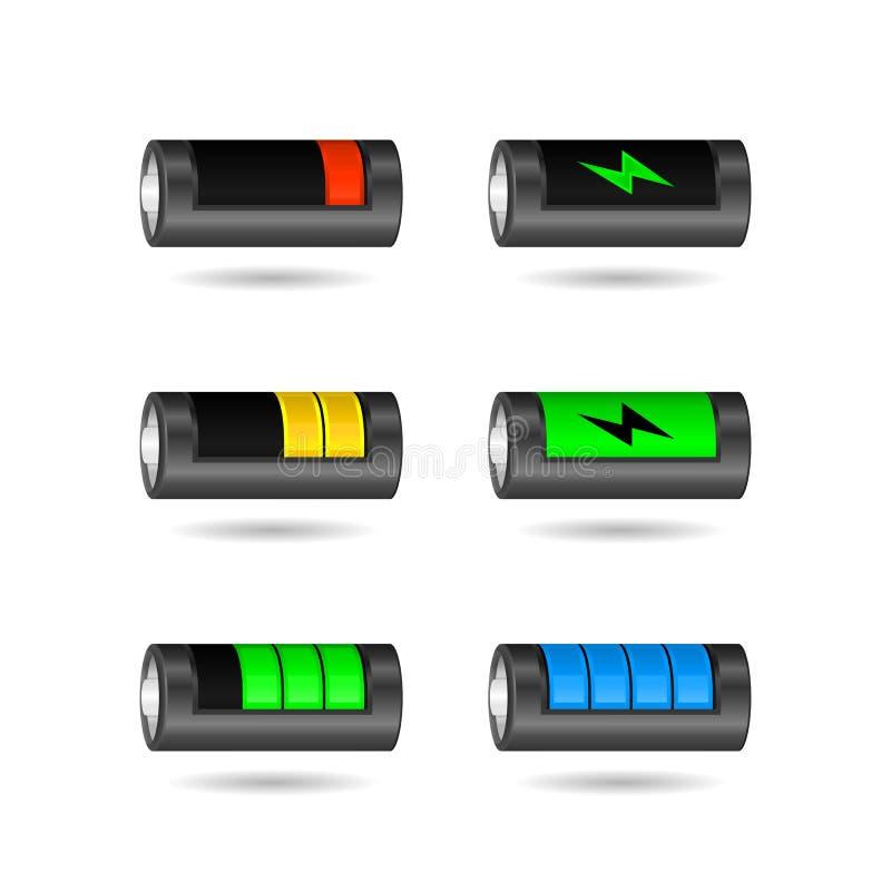 传染媒介套从低落的现实智能手机电池显示到充分,隔绝在白色背景 皇族释放例证