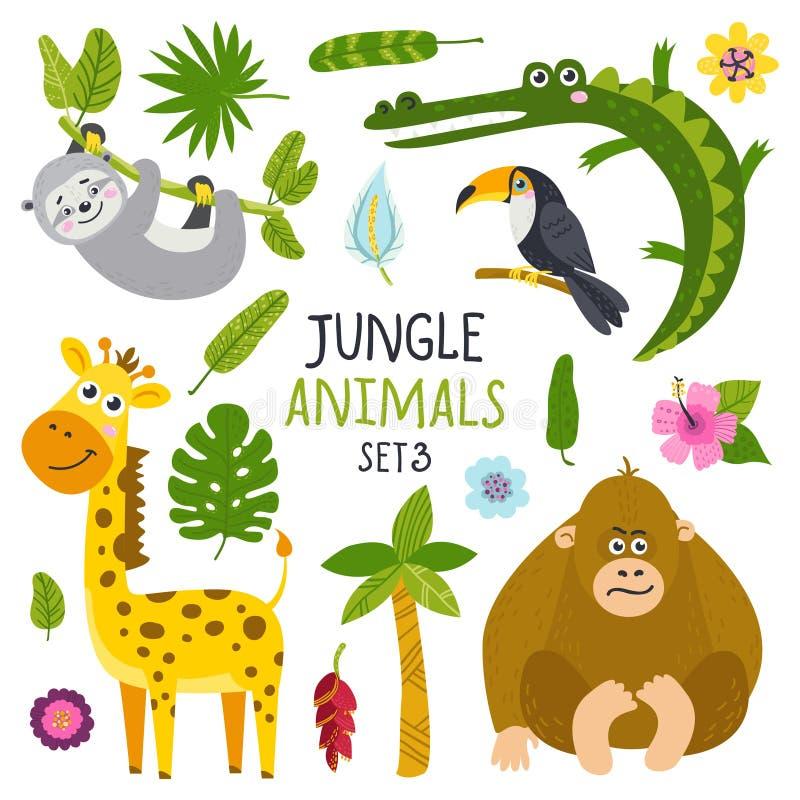 传染媒介套从密林和植物的逗人喜爱的动物 向量例证