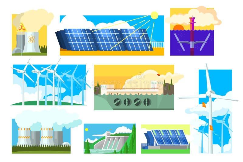 传染媒介套供选择的能源 电力生产产业 太阳,风,水力发电,核和 皇族释放例证