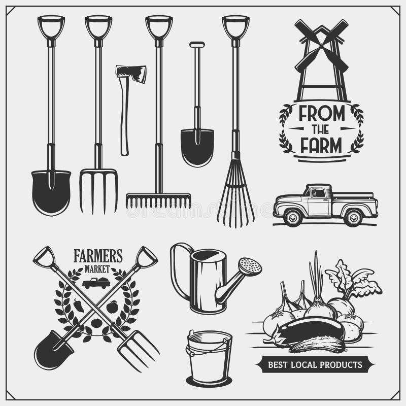 传染媒介套农厂和园艺工具 农夫市场象征 向量例证