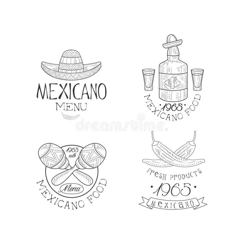 传染媒介套剪影墨西哥餐馆的样式象征 与阔边帽的创造性的商标, maracas,龙舌兰酒瓶和 库存例证