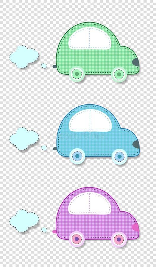 传染媒介套剪贴薄孩子的逗人喜爱的婴孩剪贴美术汽车设计 库存例证