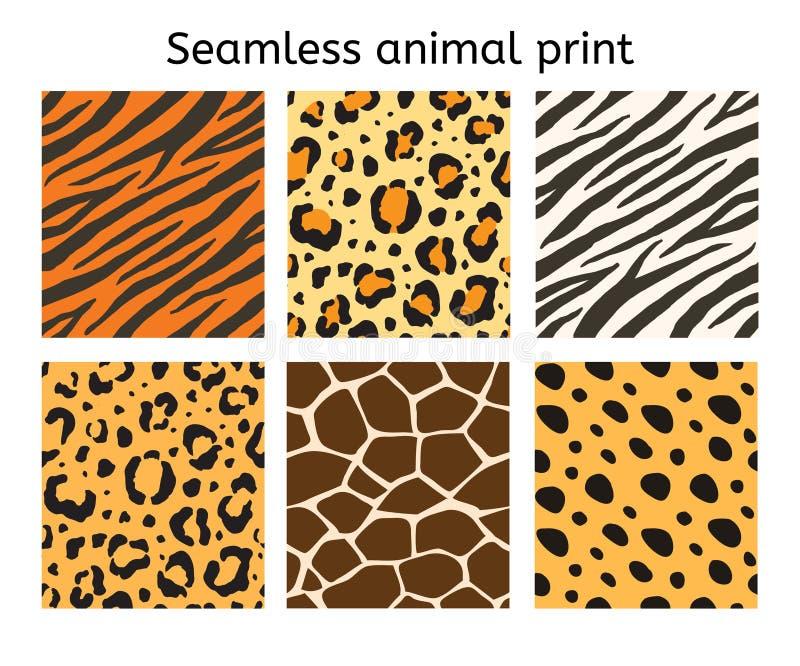 传染媒介套动物毛皮印刷品的无缝的样式 库存例证