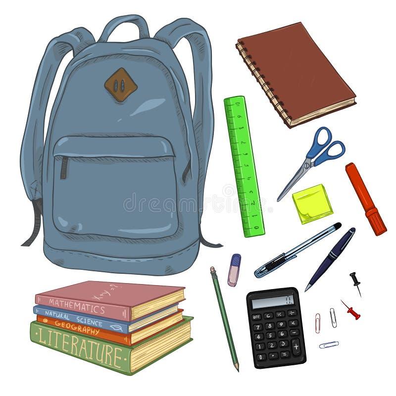 传染媒介套动画片背包和学校用品 库存例证