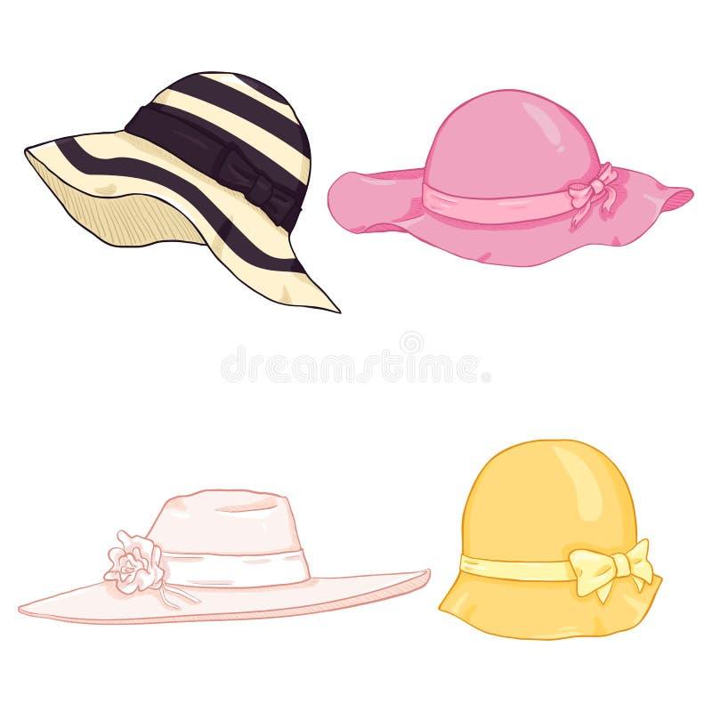 传染媒介套动画片颜色妇女帽子 皇族释放例证
