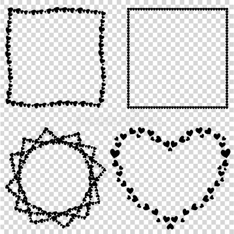 传染媒介套华伦泰的逗人喜爱的黑爱心脏边界,婚姻的设计 库存例证