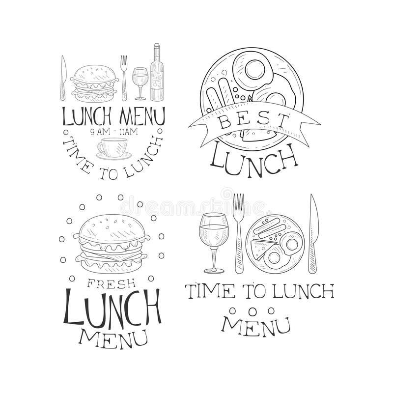 传染媒介套单色午餐商标 速写样式象征用煎蛋用香肠和鲜美汉堡 设计为 皇族释放例证