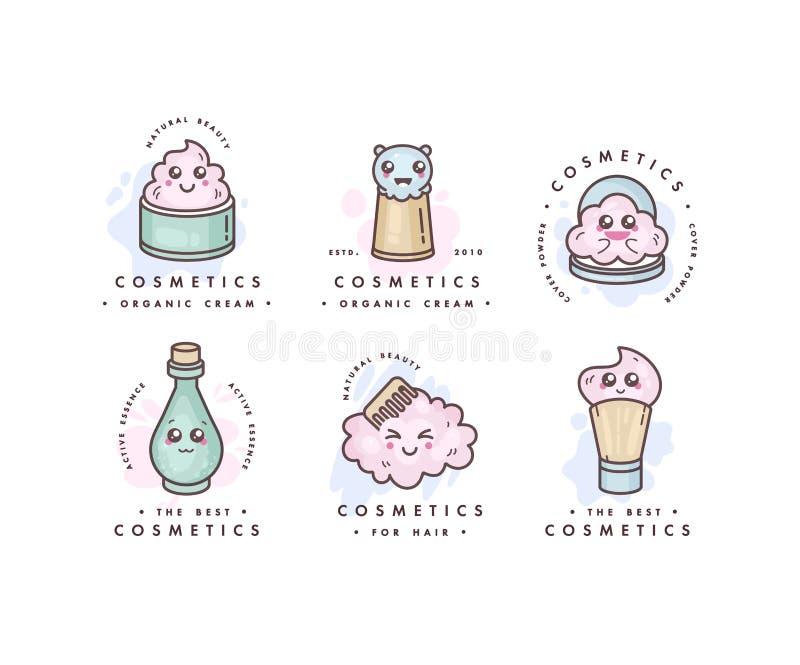 传染媒介套商标设计模板,并且象征或徽章秀丽的关心 亚洲化妆用品-奶油,粉末,精华 库存例证