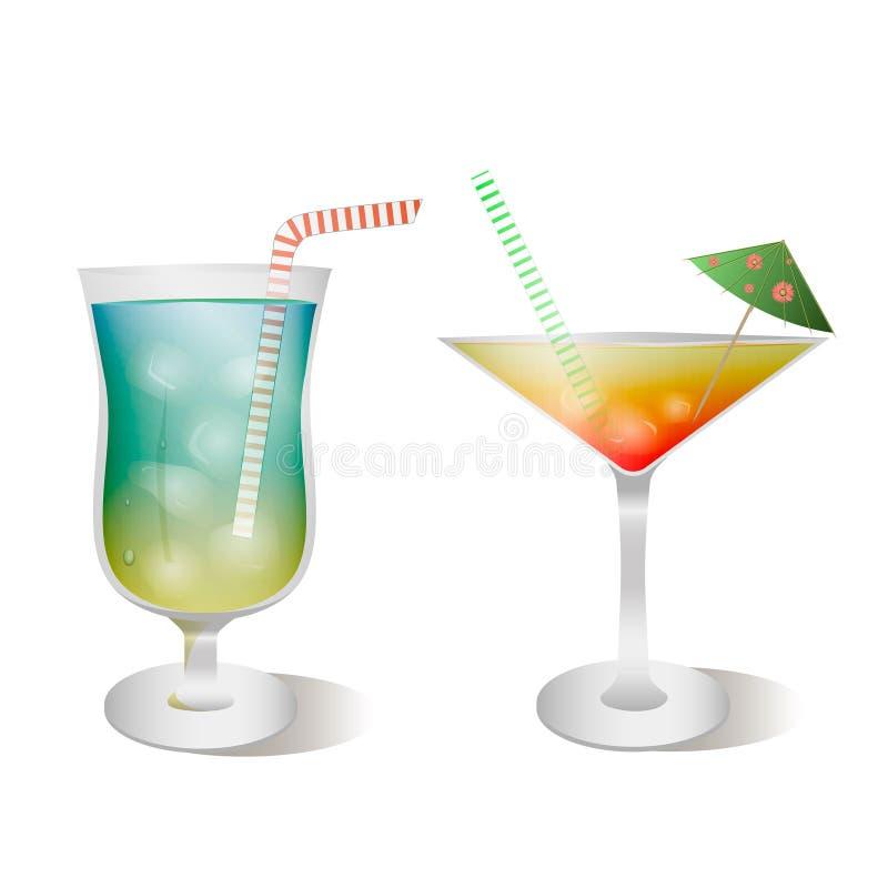 传染媒介套器皿和玻璃与鸡尾酒 现实,样式 皇族释放例证