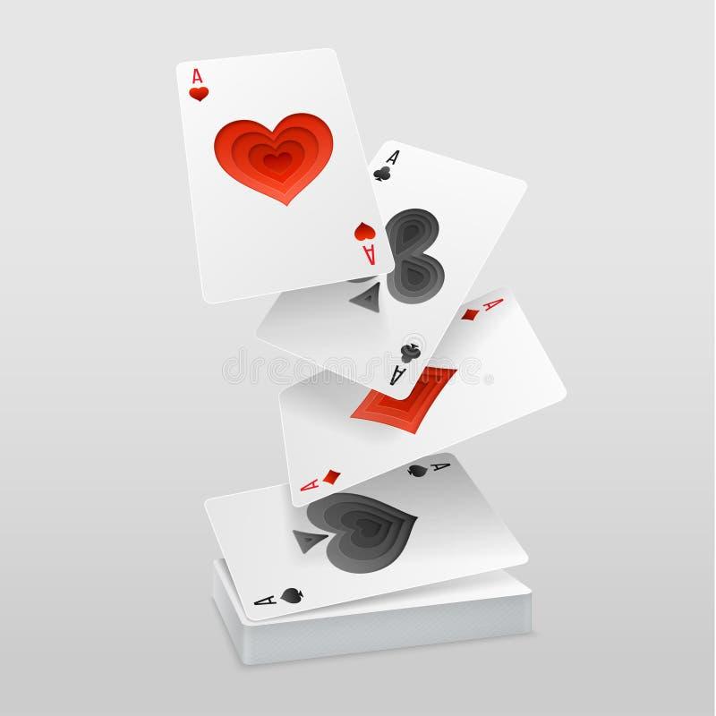 传染媒介套四张一点纸牌在卡片组落 向量例证