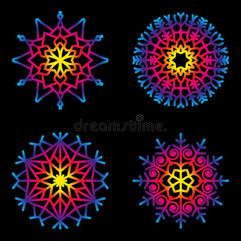 传染媒介套圆圆的坛场雪花-彩虹上色了-成人彩图页 库存例证