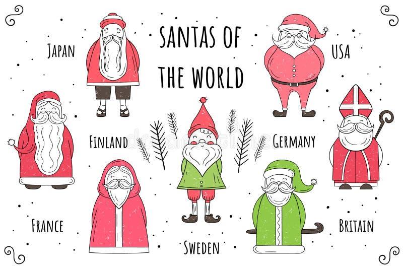 传染媒介套圣诞老人世界 平的样式 圣诞节克劳斯例证新的圣诞老人向量年 库存例证