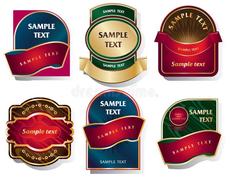 传染媒介套在一个经典样式的标签 库存例证