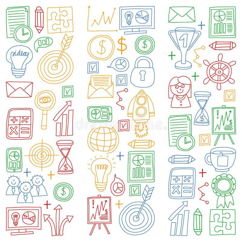 传染媒介套在乱画样式的企业象 在一张纸的五颜六色的图片在白色背景的 库存例证