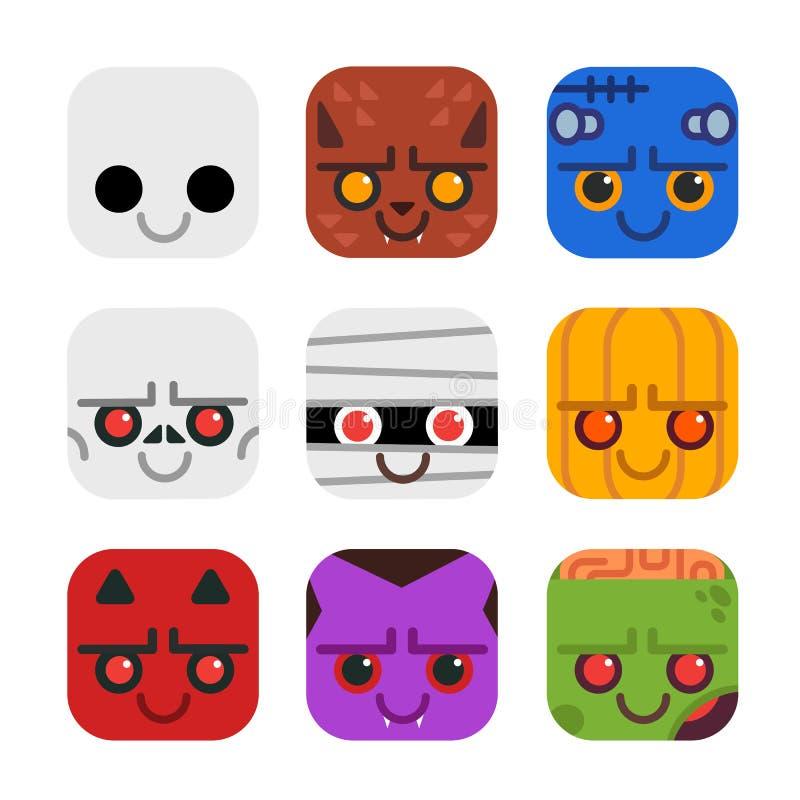 传染媒介套在平的设计样式的逗人喜爱的妖怪象 鬼魂,狼人,科学怪人,骨骼,妈咪,南瓜,恶魔,吸血鬼, Zo 向量例证