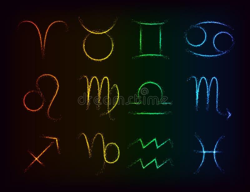 传染媒介套在彩虹背景的发光的西部黄道带占星标志 库存例证