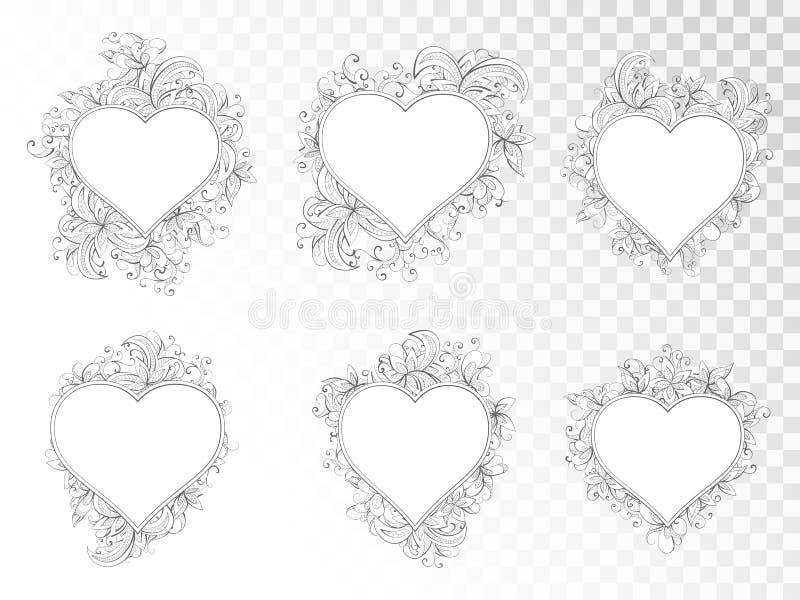 传染媒介套在心脏形状的框架与手拉的花卉元素 库存例证