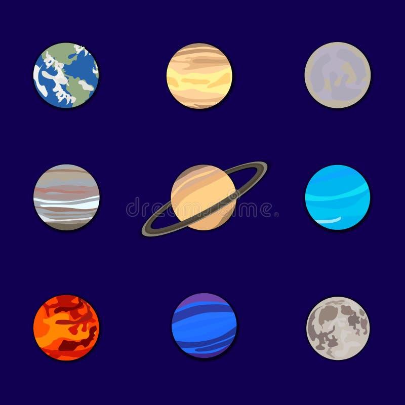 传染媒介套在深蓝天空背景,太阳系例证,纸保险开关的行星 库存例证