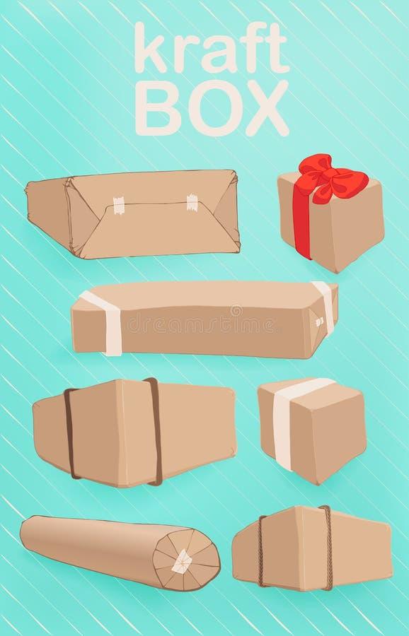 传染媒介套在牛皮纸不同的形式和方法的箱子包装 库存例证