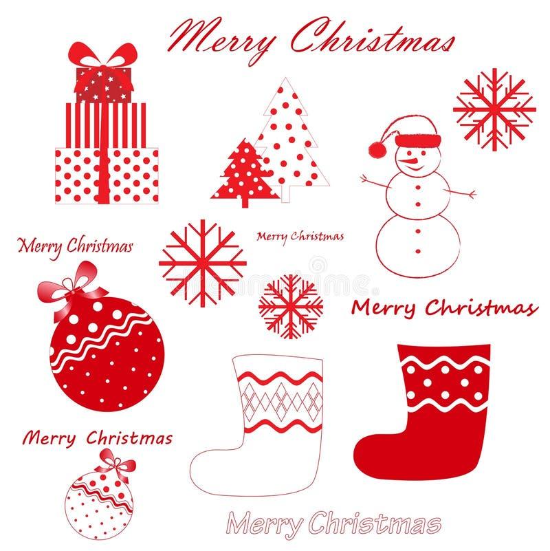 传染媒介套在白色背景隔绝的红色圣诞节和新年simbols 向量例证