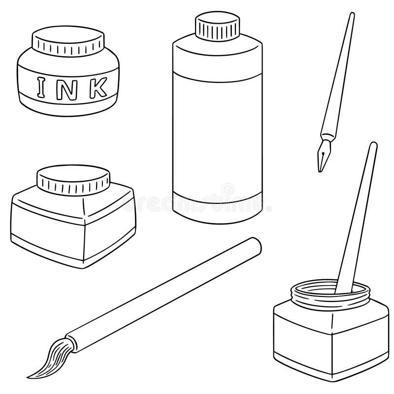 传染媒介套墨水、刷子和垂度笔 皇族释放例证