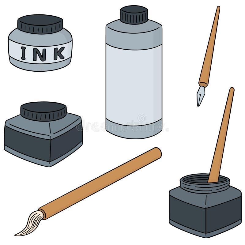 传染媒介套墨水、刷子和垂度笔 库存例证