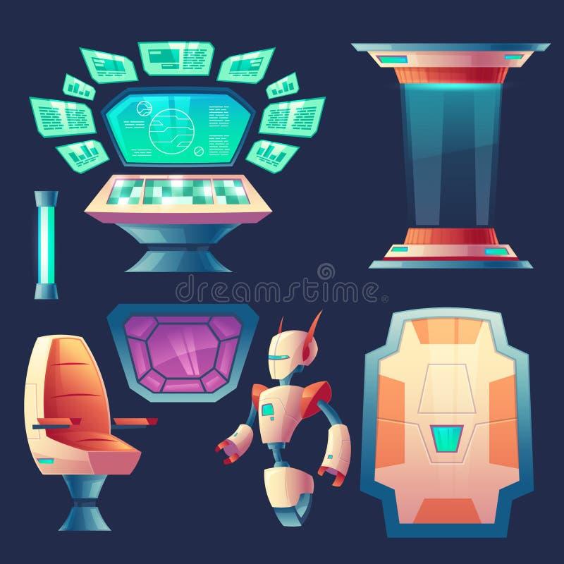 传染媒介套外籍人太空飞船设计元素 向量例证