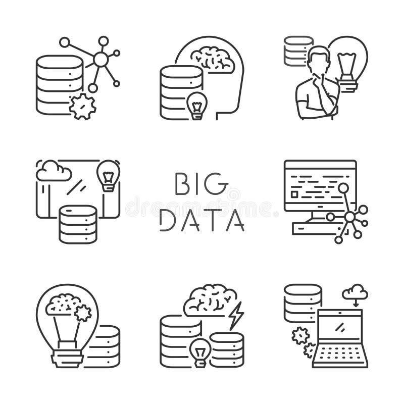 传染媒介套大数据的线性象 库存例证