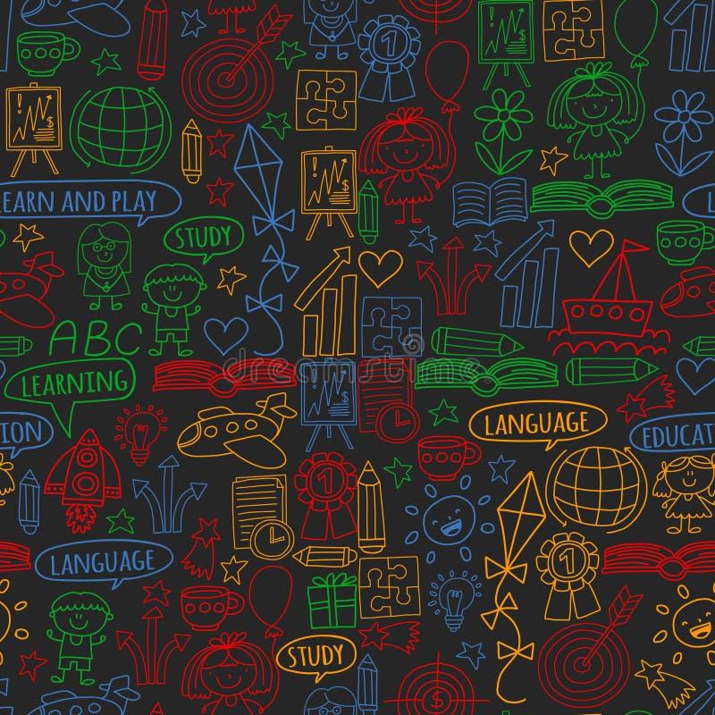 传染媒介套学会英语语言,孩子\'在乱画样式的s画的象 绘,五颜六色,在pape片断的图片  库存例证